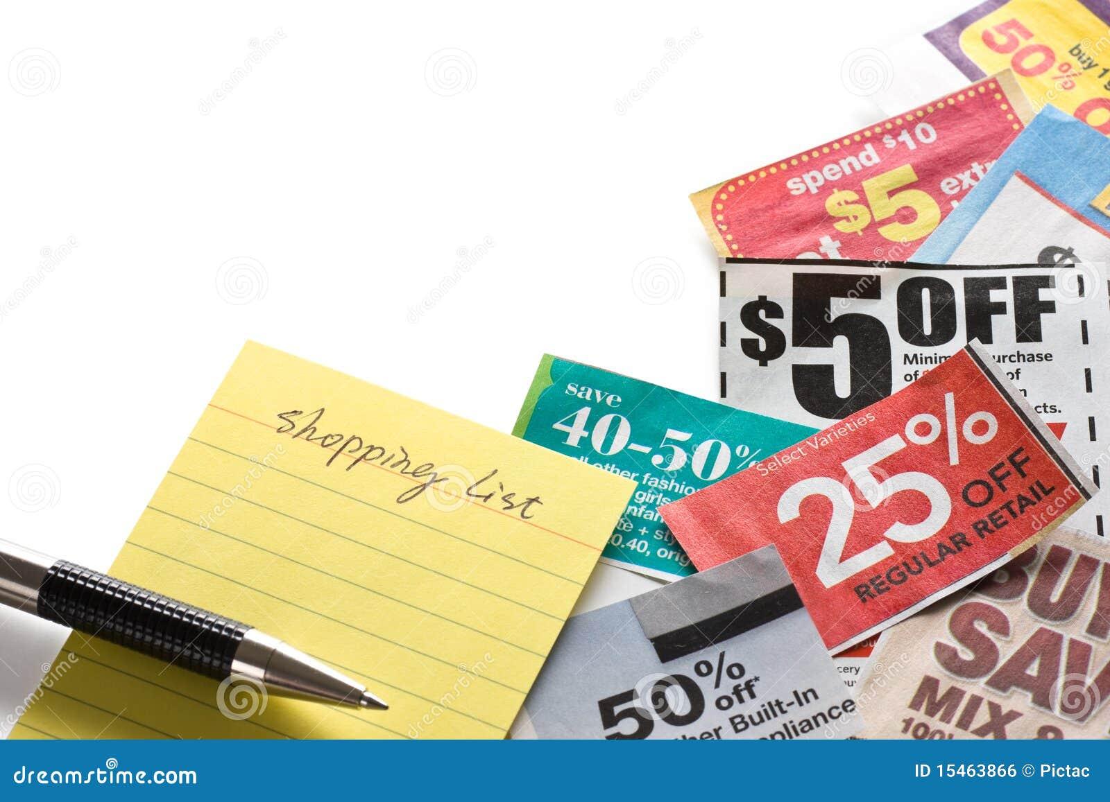 Cupones y lista de compras