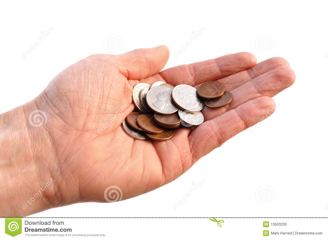 Hand Holding Change Coins Stock Photography - Image: 12708662