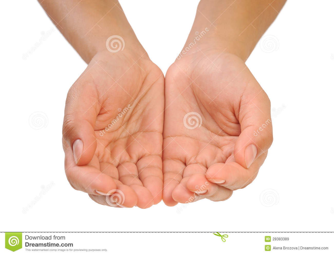 One cupped hand