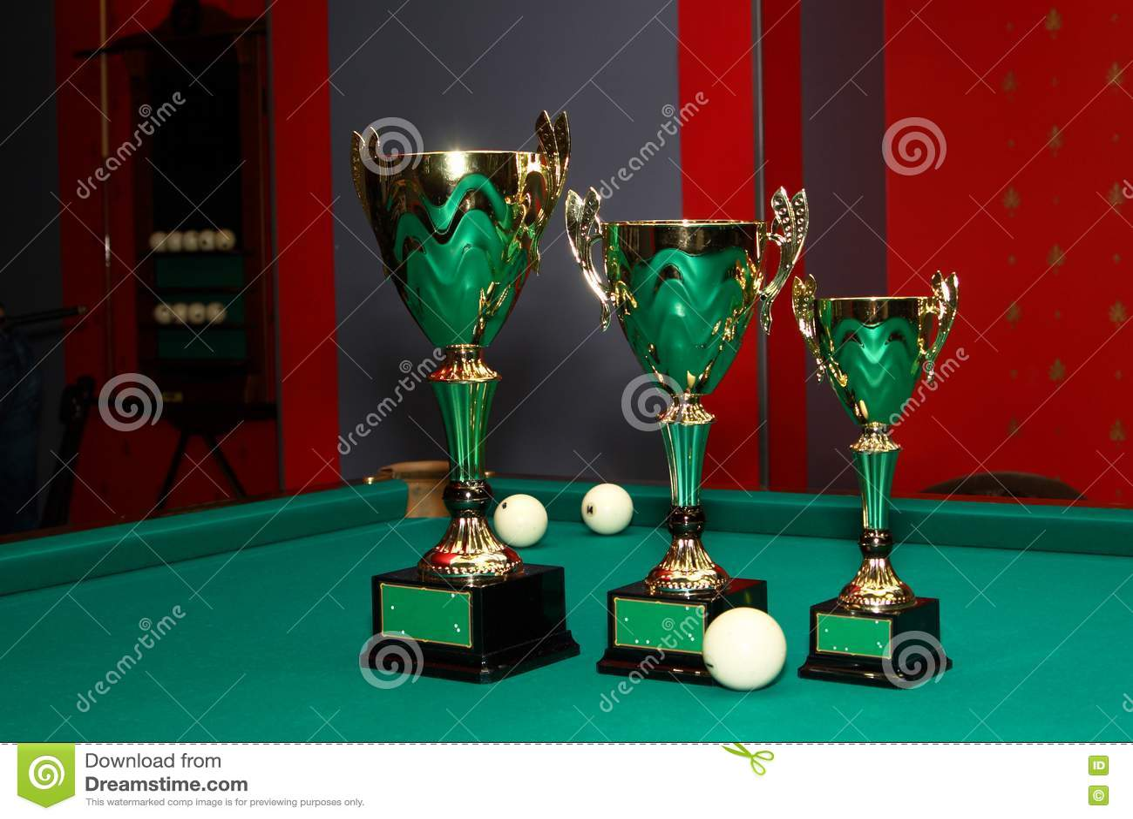 Beautiful cups, award winners in billiards.