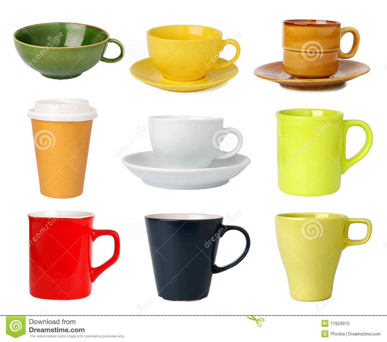 Collection of cups and mugs isolated on white background.