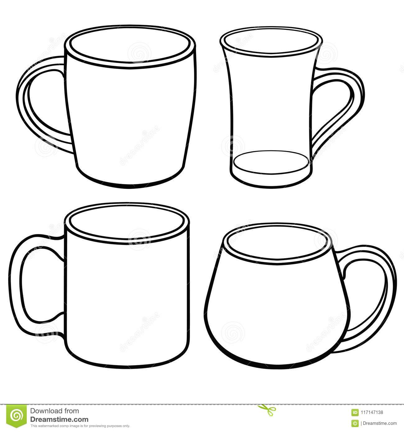 Cups And Mugs For Tea Of Different Shapes A Set Of Templates Line Drawing For Coloring Stock Vector Illustration Of Coloring Mugs 117147138