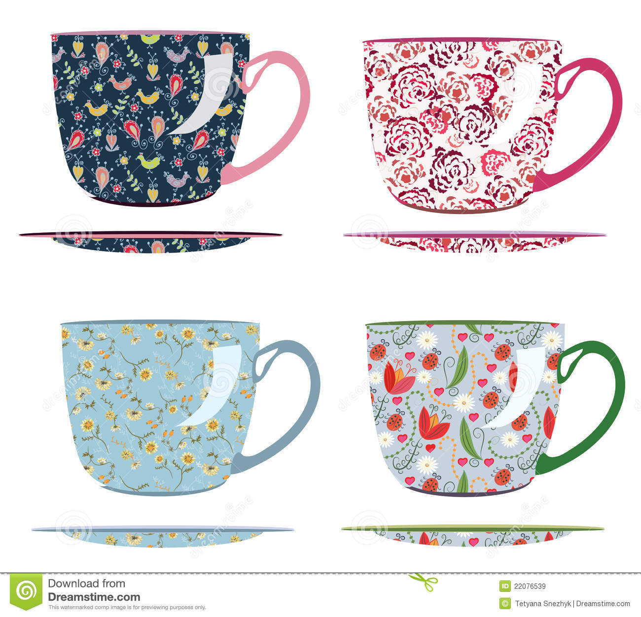 Cups for tea with patterns