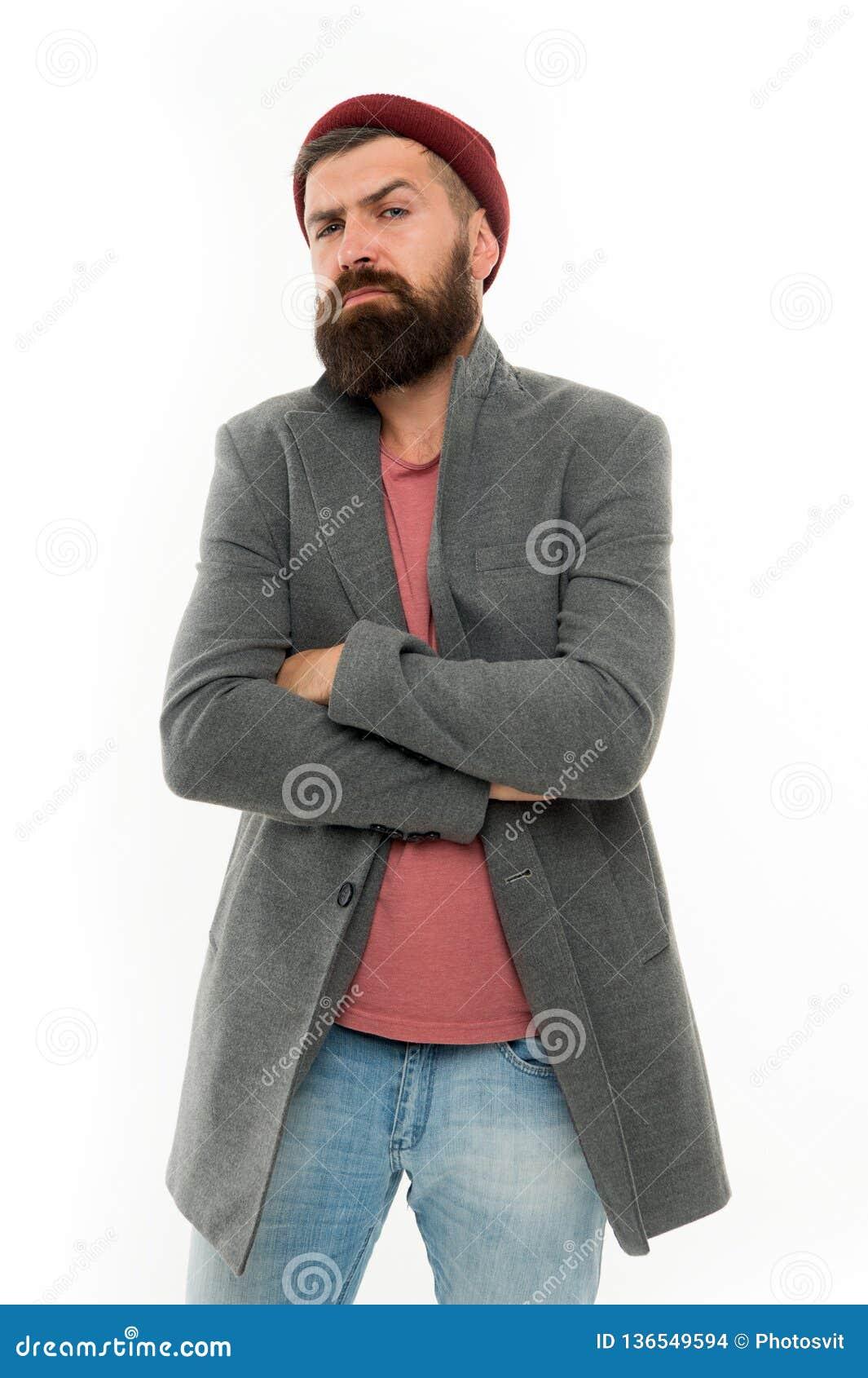 Cura facciale Modo maschio Pantaloni a vita bassa maturi con la barba Uomo barbuto Pantaloni a vita bassa caucasici brutali con i