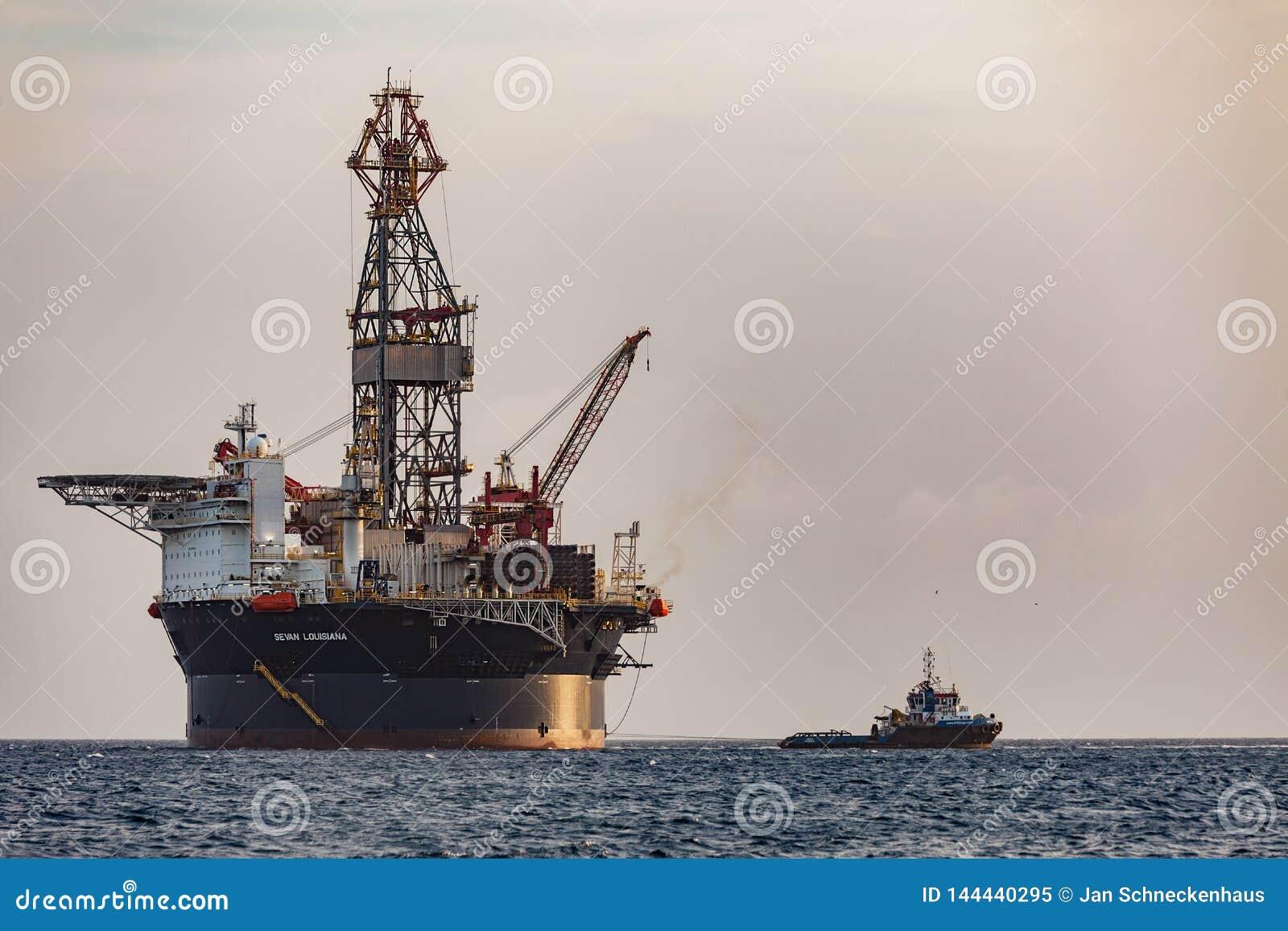 The Oil Rig `Sevan Louisiana` Off The Curacao Coast In The