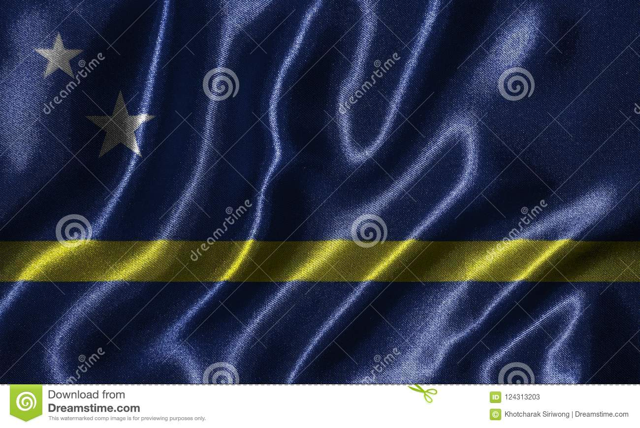 Wallpaper by Curacao flag and waving flag by fabric.