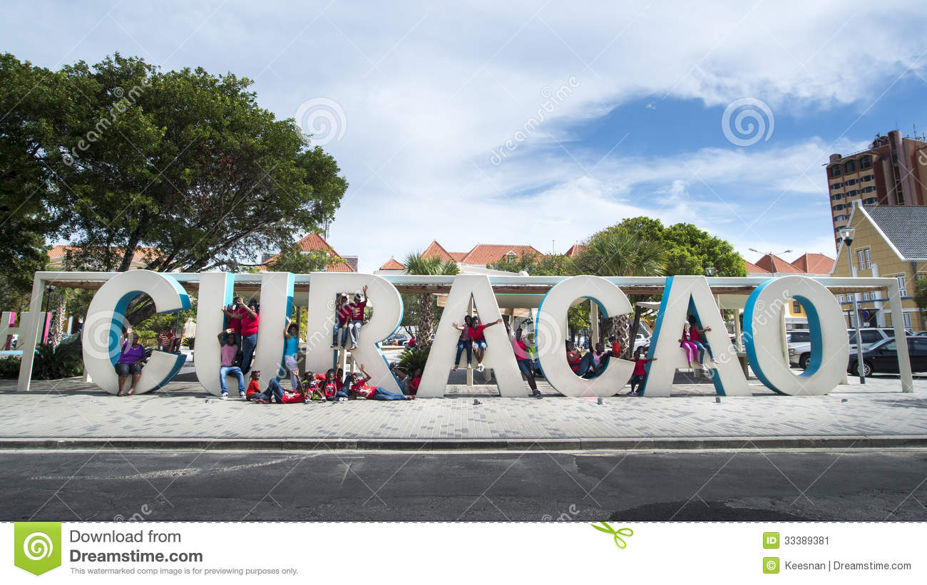 curacao huge letters at streets of punda editorial photo