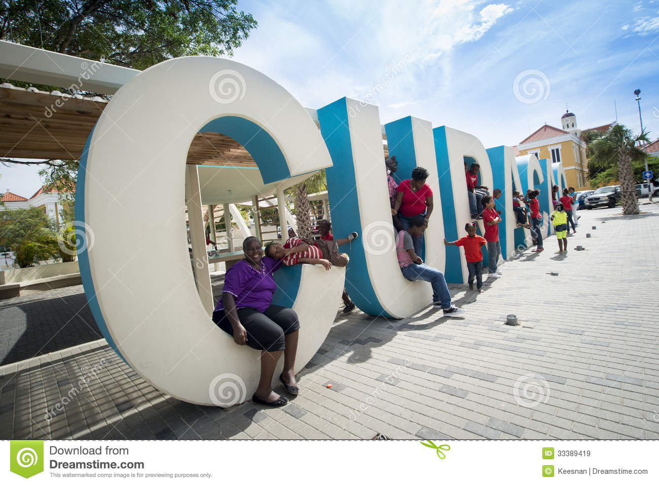 curacao huge letters at streets of punda editorial stock image