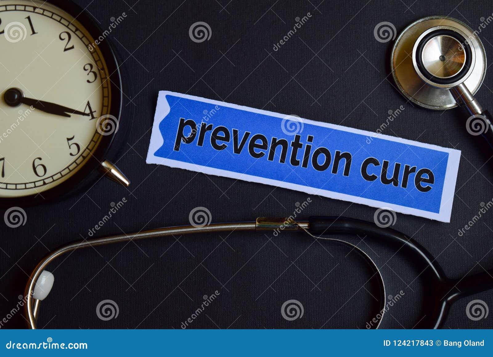 Curación de la prevención en el papel de la impresión con la inspiración del concepto de la atención sanitaria despertador, estet