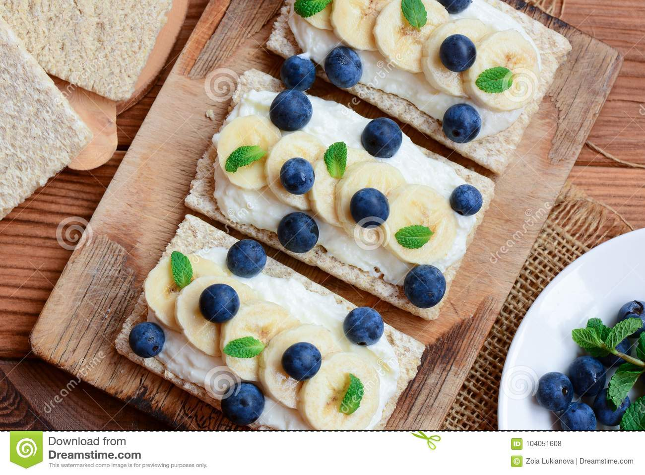 Cottage Cheese Bananas And Berries Sandwiches With Crisp Bread On Wooden Board Great Cottage Cheese Sandwiches Recipe Closeup Stock Photo Image Of Food Creamy 104051608