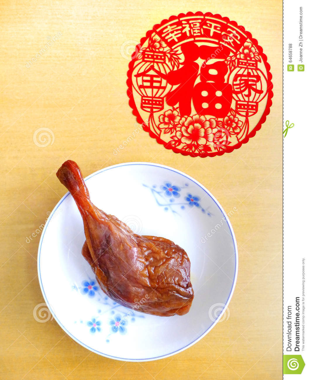 Cured duck leg, chinese festive food