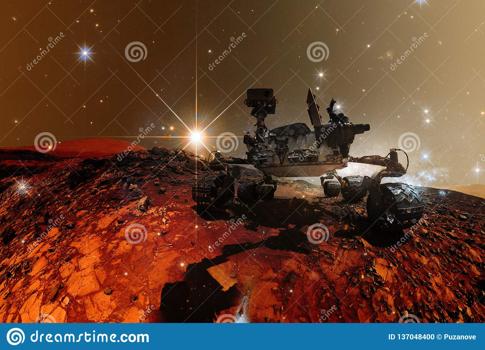 Curiosity Mars Rover exploring the surface planet of Mars