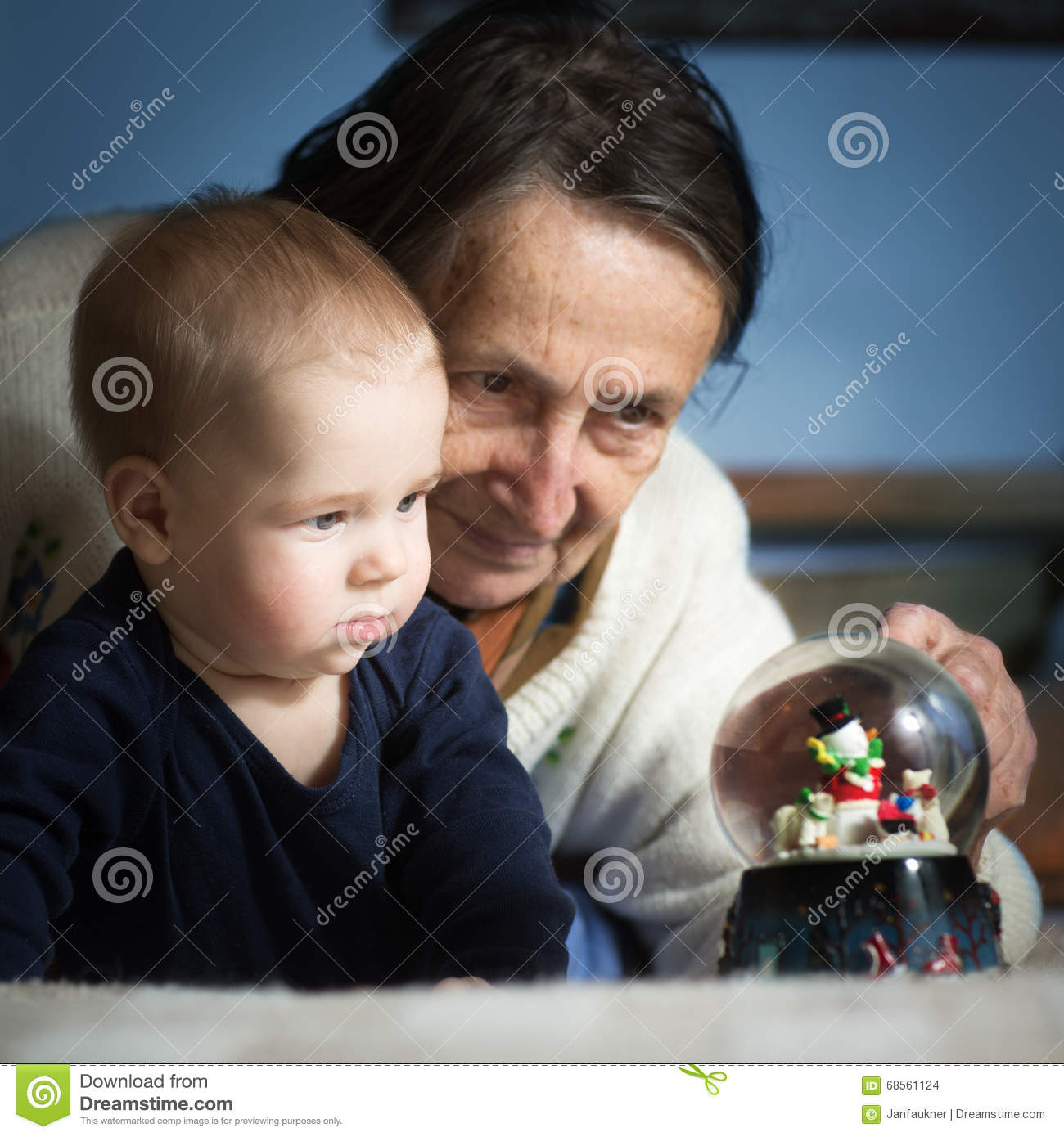 Curious baby and his grandmother