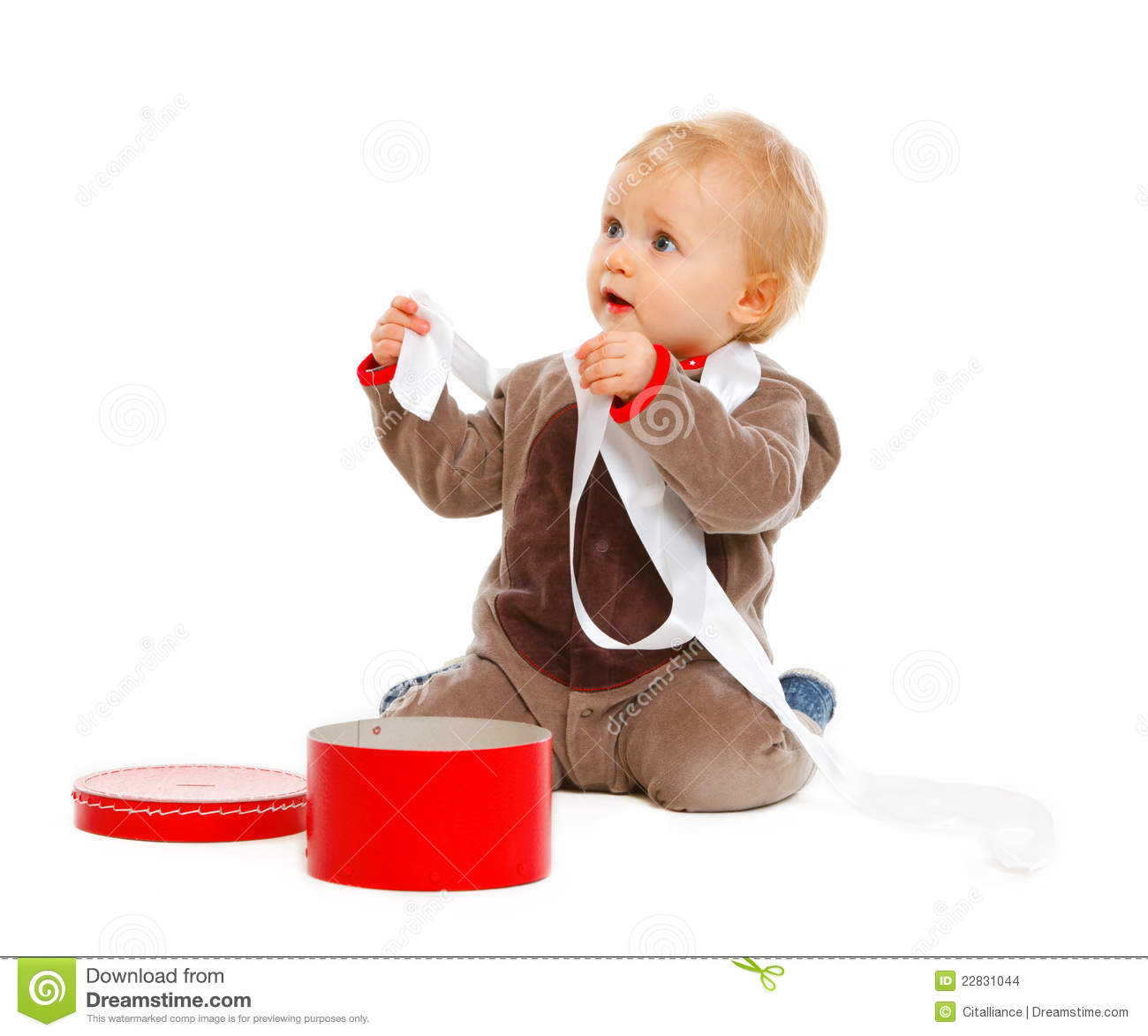 Curious Cute Baby With Open Christmas Gift Box Stock Photo - Image ...