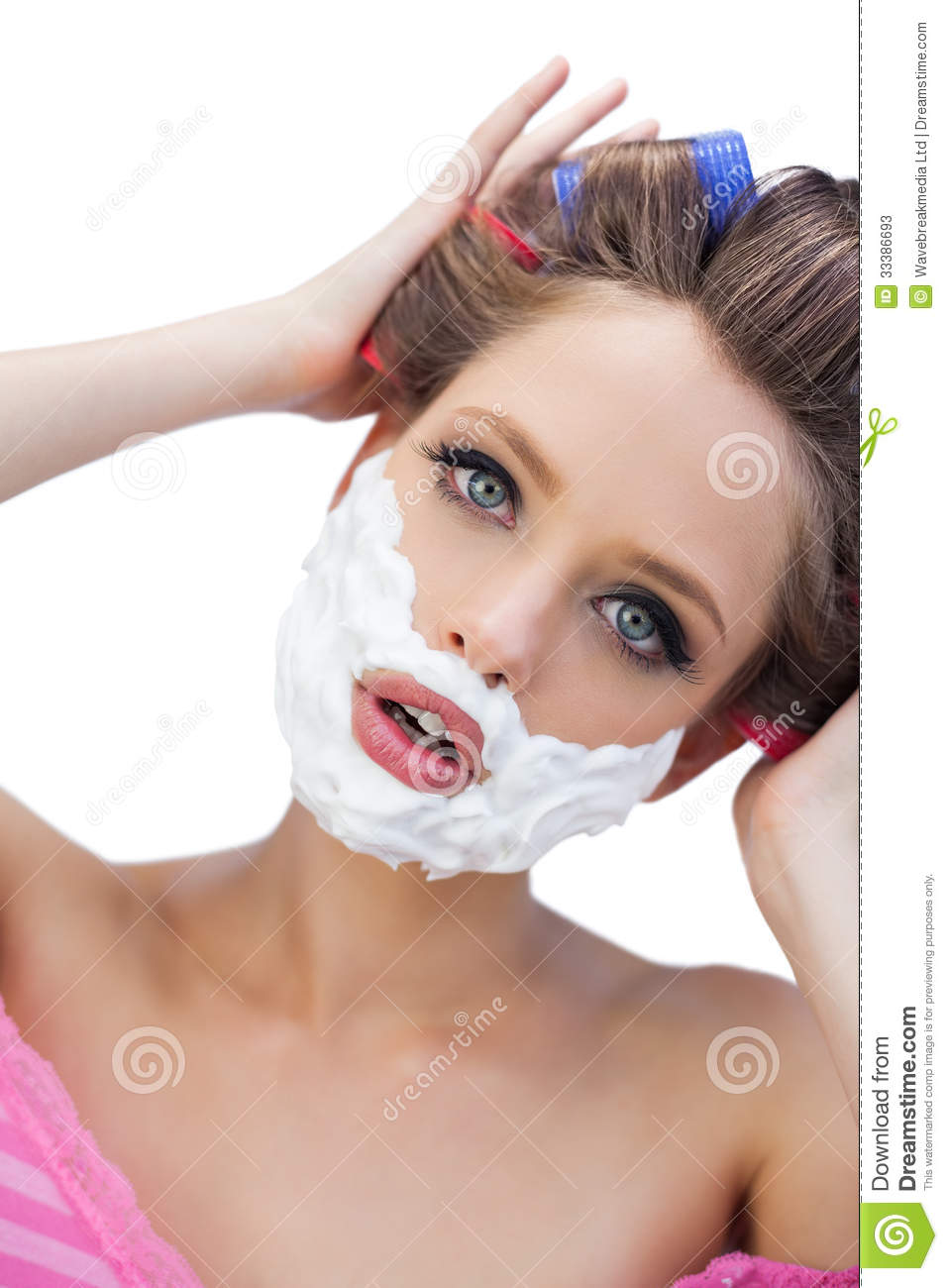 Curious Model In Hair Curlers With Shaving Foam Stock Photos - Image ...