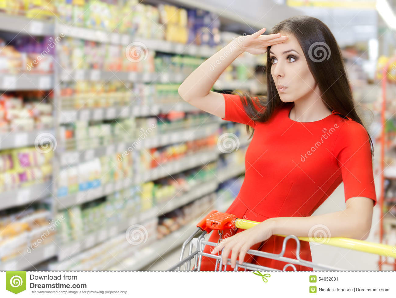 Curious Woman Shopping at The Supermarket