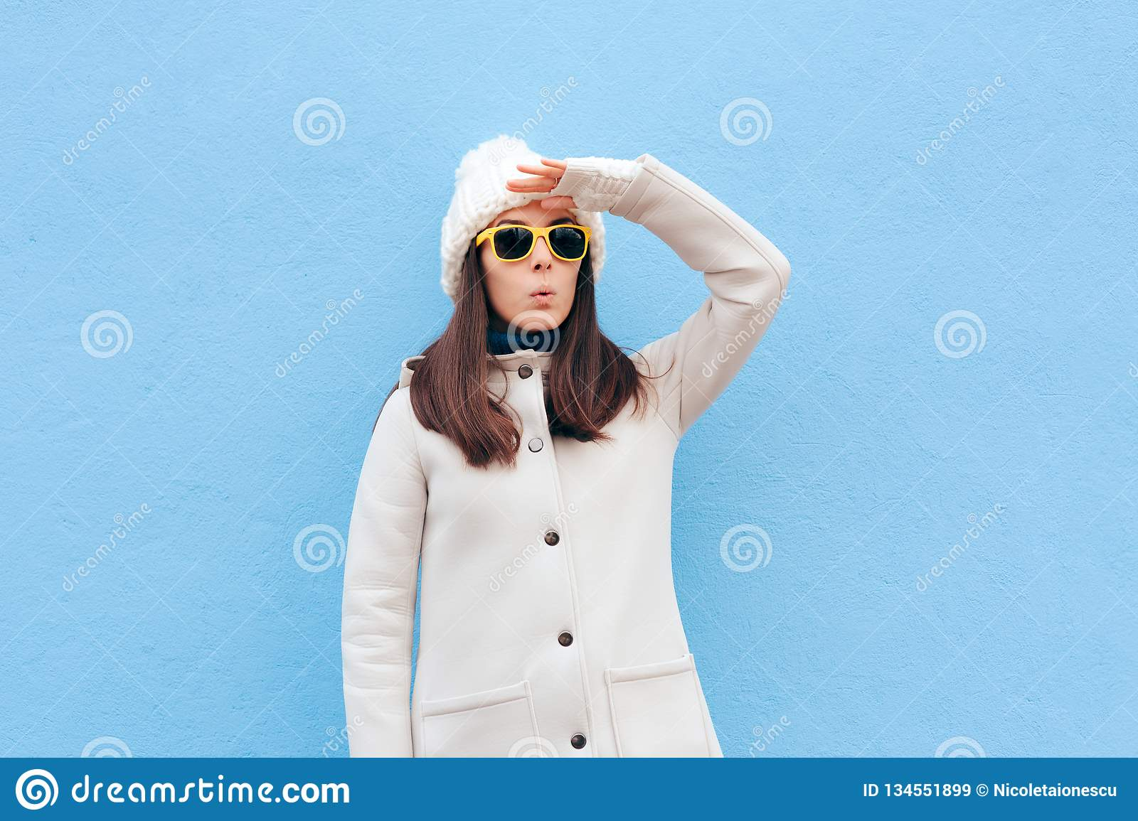 Curious Woman With Sunglasses Searching for Something