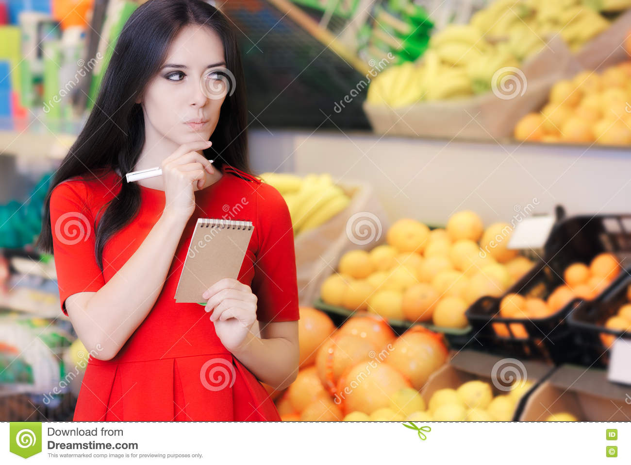 Curious Woman in The Supermarket with Hopping List