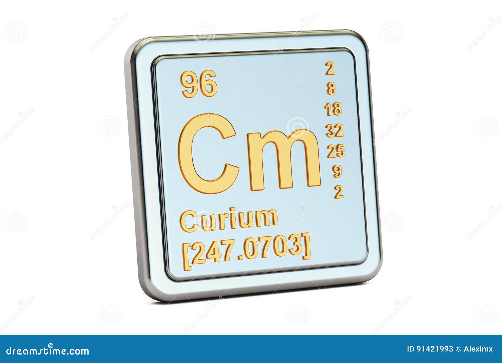 Curium Cm Chemical Element Sign 3d Rendering Stock Illustration