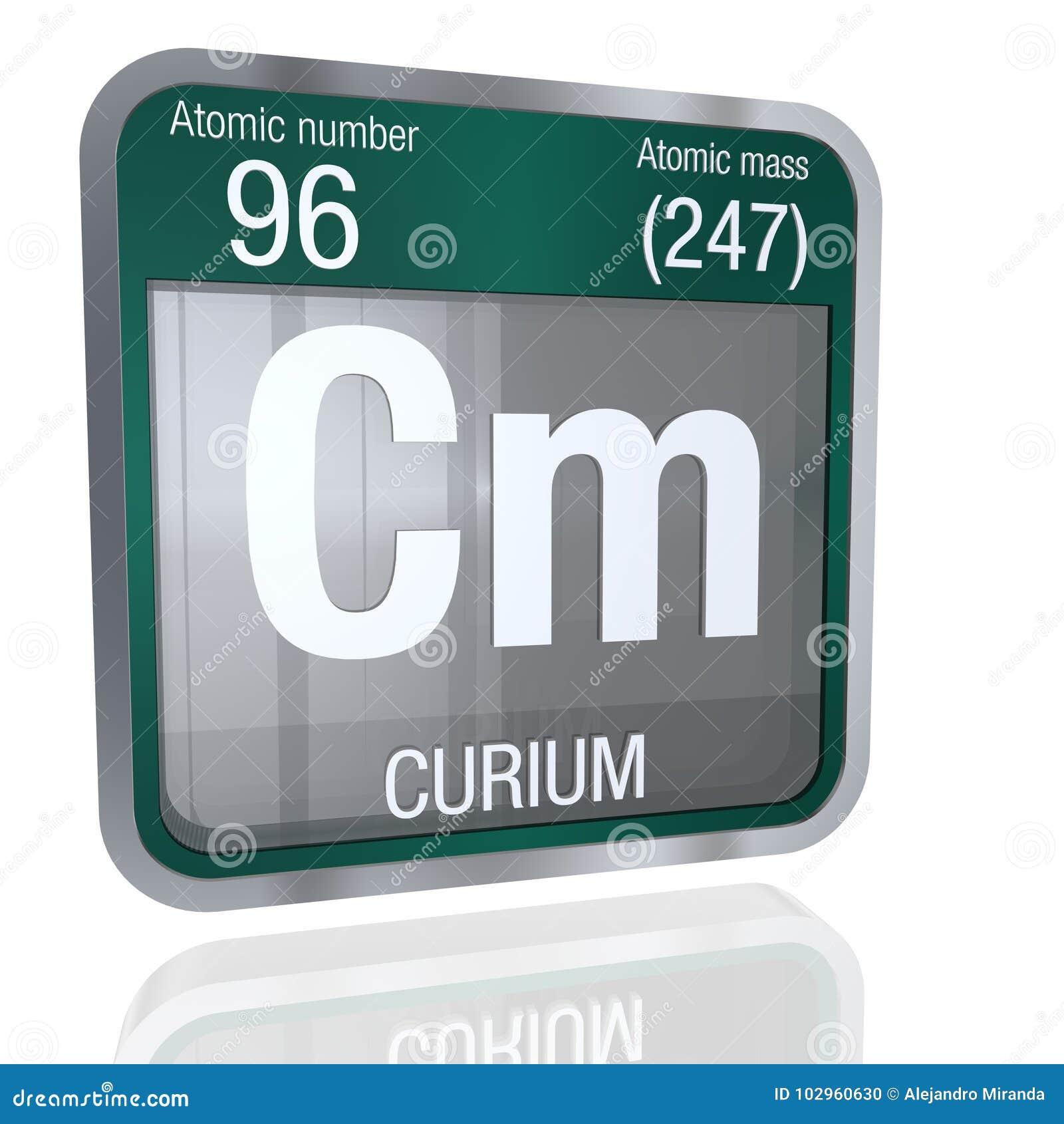 Curium Symbol In Square Shape With Metallic Border And Transparent