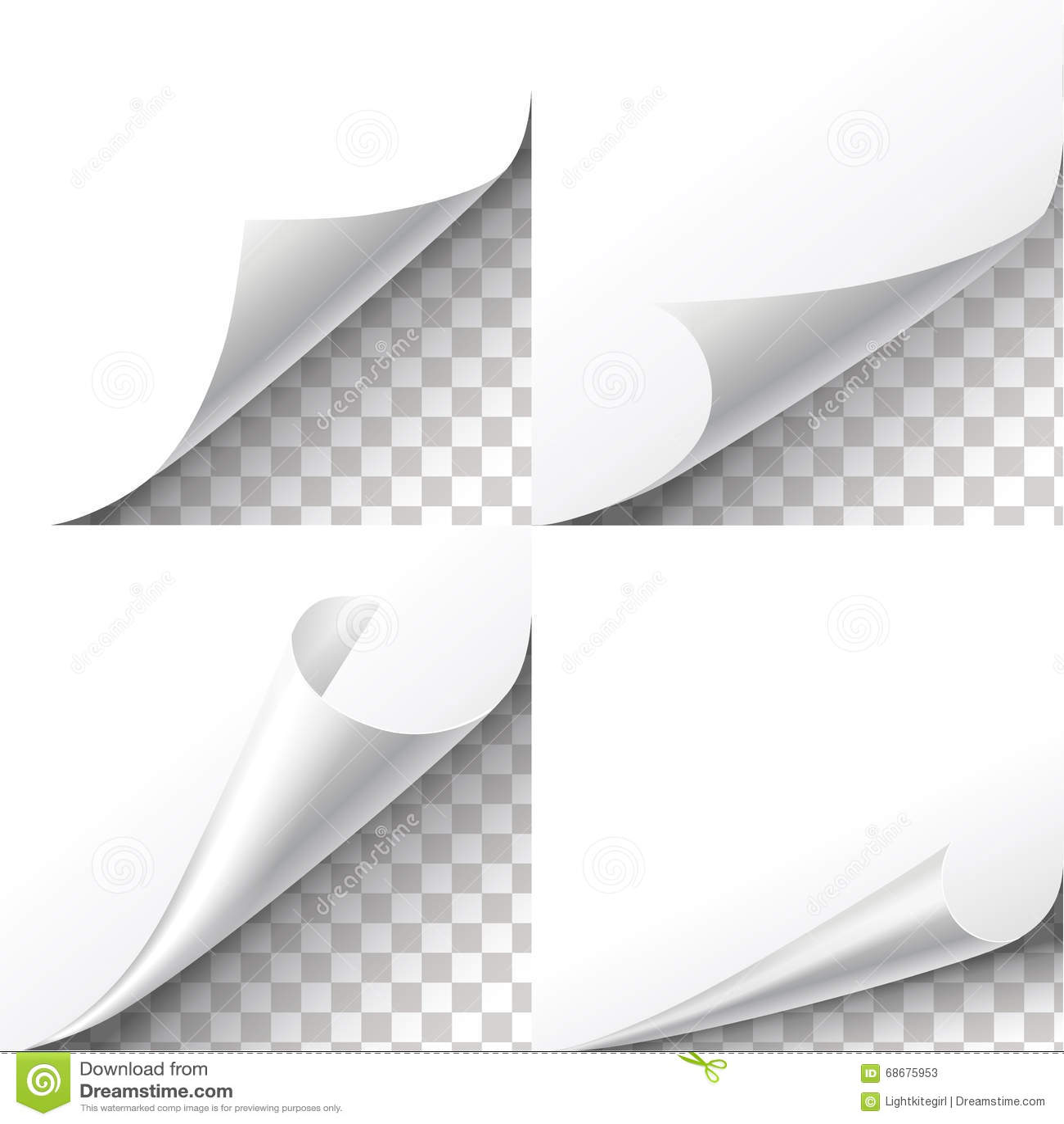 Curl Paper Corners Vector Set On Transparent Background