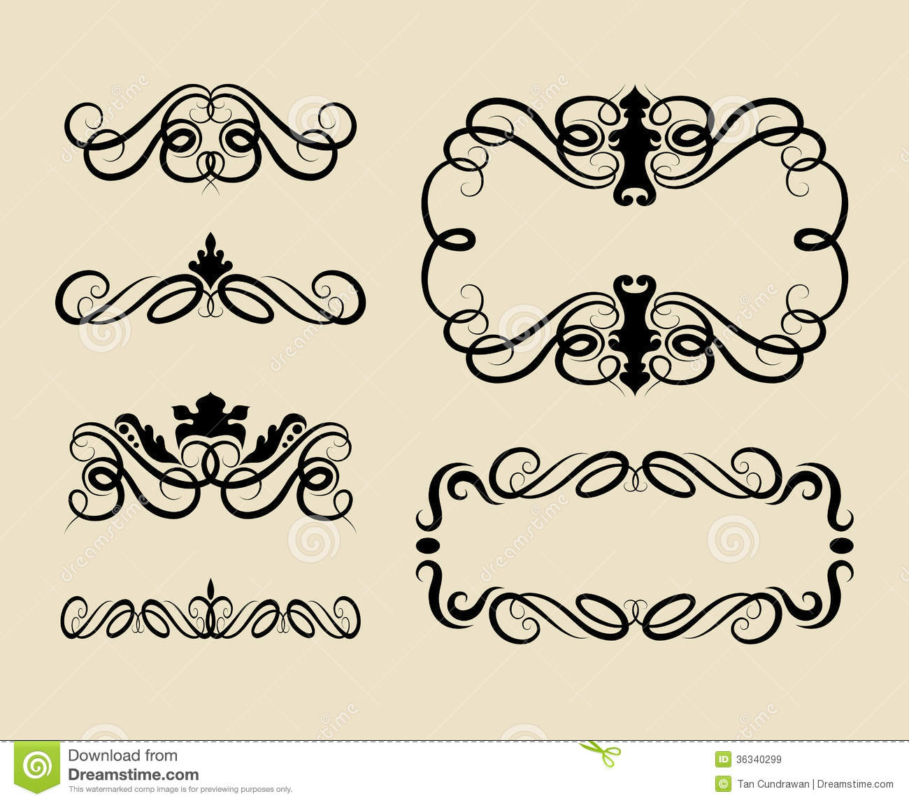 Curl Swirl Ornament Decorations Royalty Free Stock Images ...