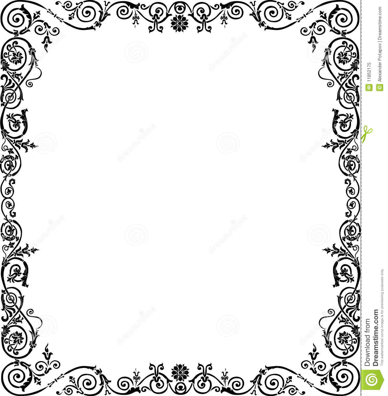. Curled Black Frame Decoration Stock Vector   Illustration of corner