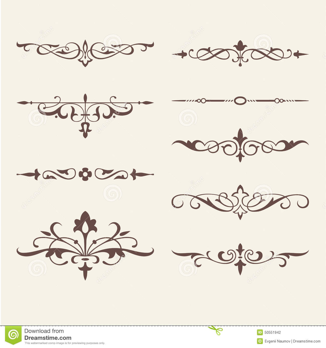 Curled Calligraphic Design Elements For Logo Stock Vector