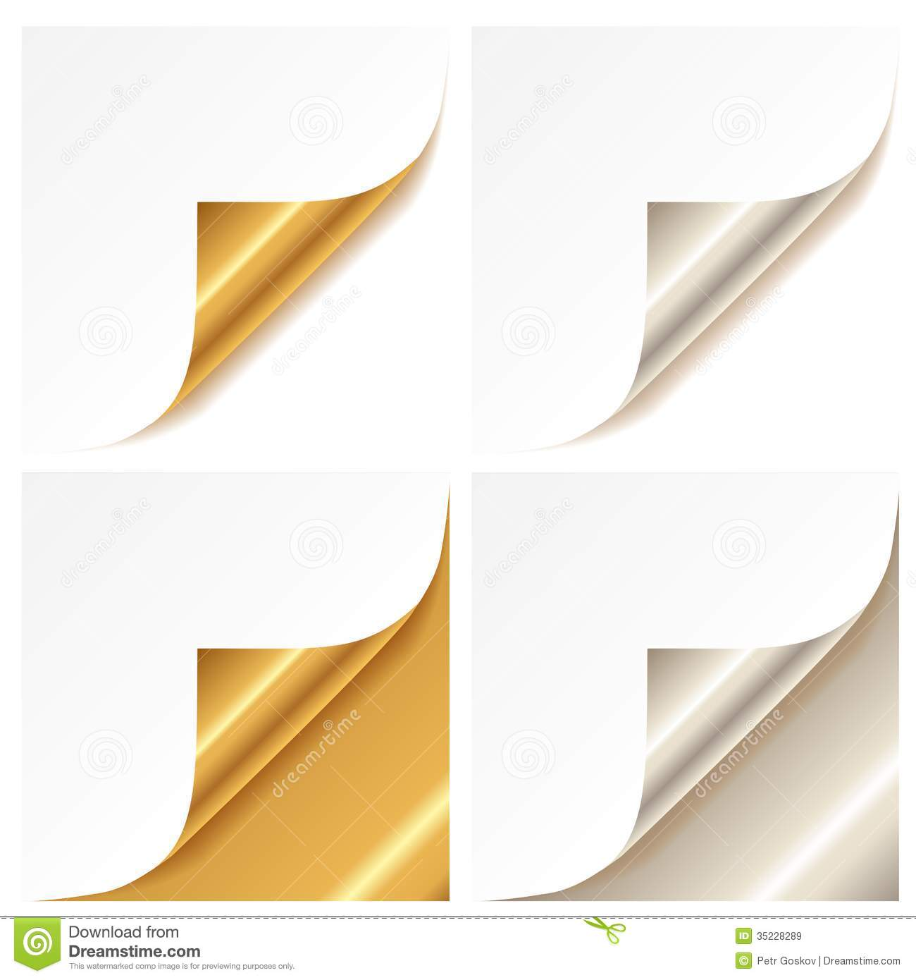 Page: Curled Golden And Silver Page Corner Stock Vector