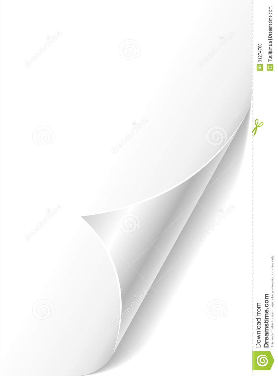 curled paper page corner stock photo