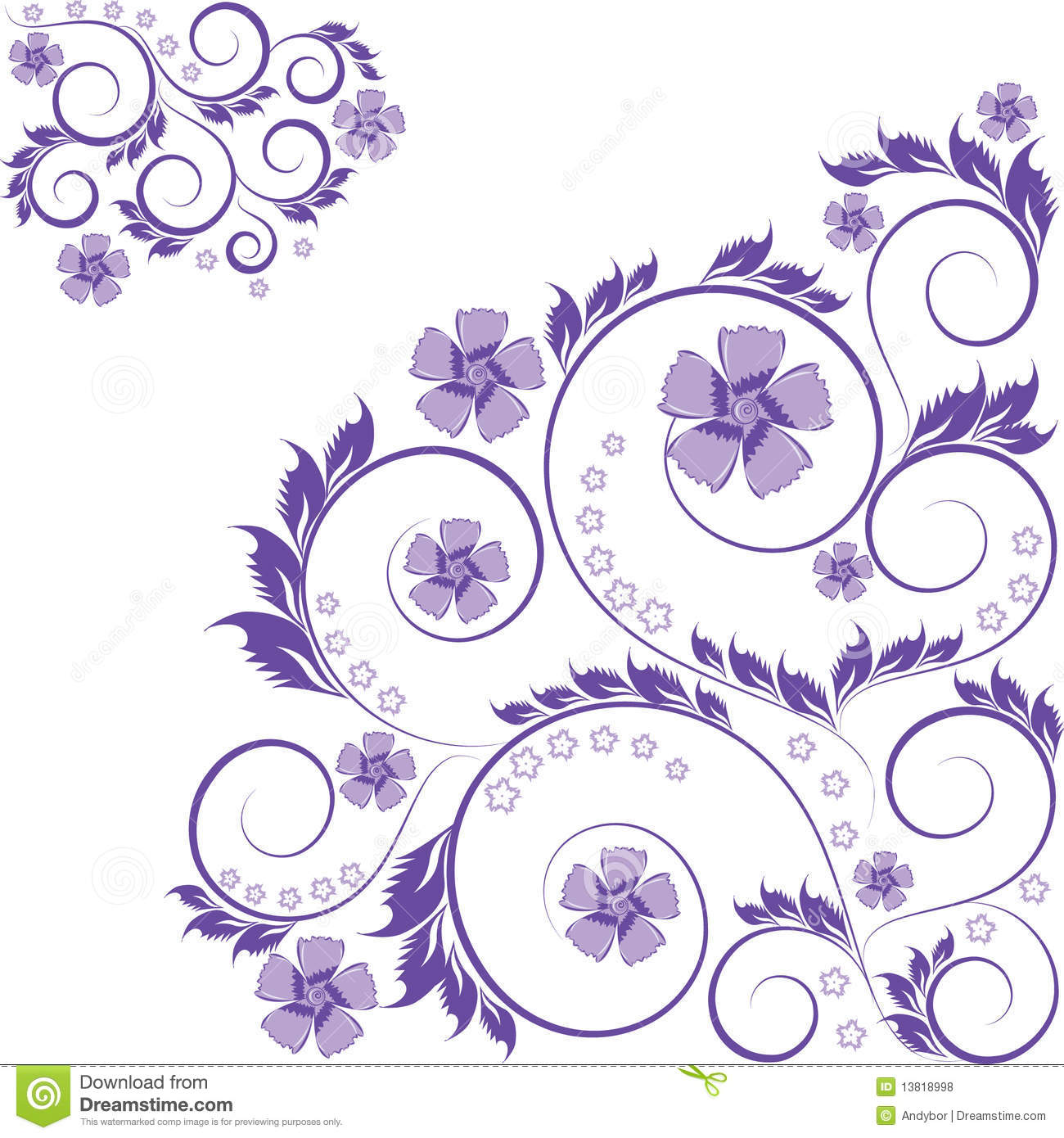 curled purple floral ornament isolated on white stock illustration