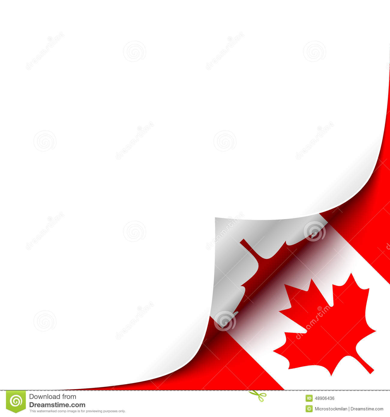 Curled Up Paper Corner On Canadian Flag Background Stock