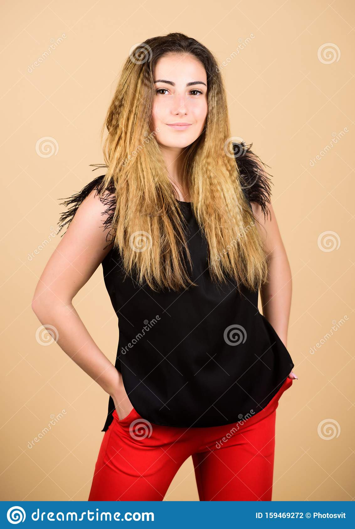 Curling And Crimping Hair Hairdresser Styling Tips Nice And Easy Trendy Crimped Hairstyle Fashion Girl Stylish Stock Photo Image Of Model Hairdresser 159469272