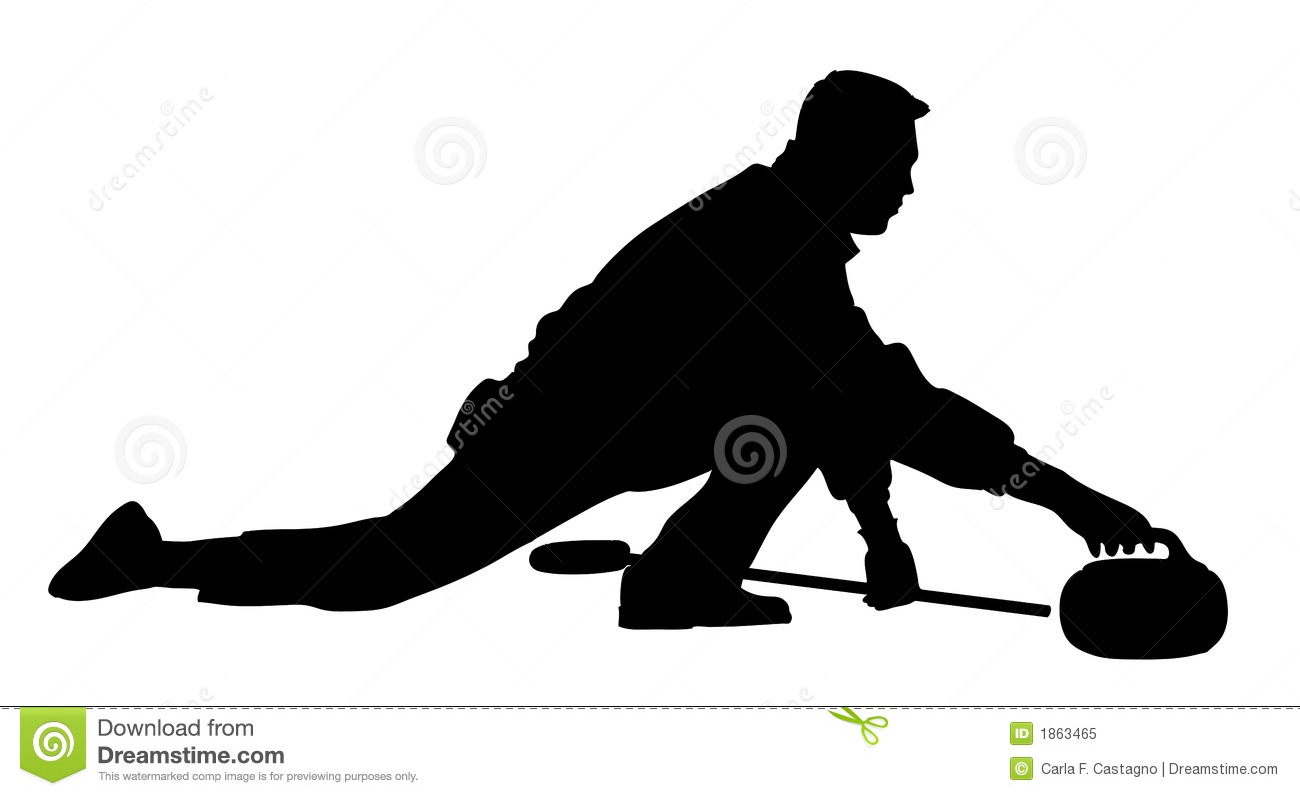 An isolated man playing curling with stone and broom. Vector icon.