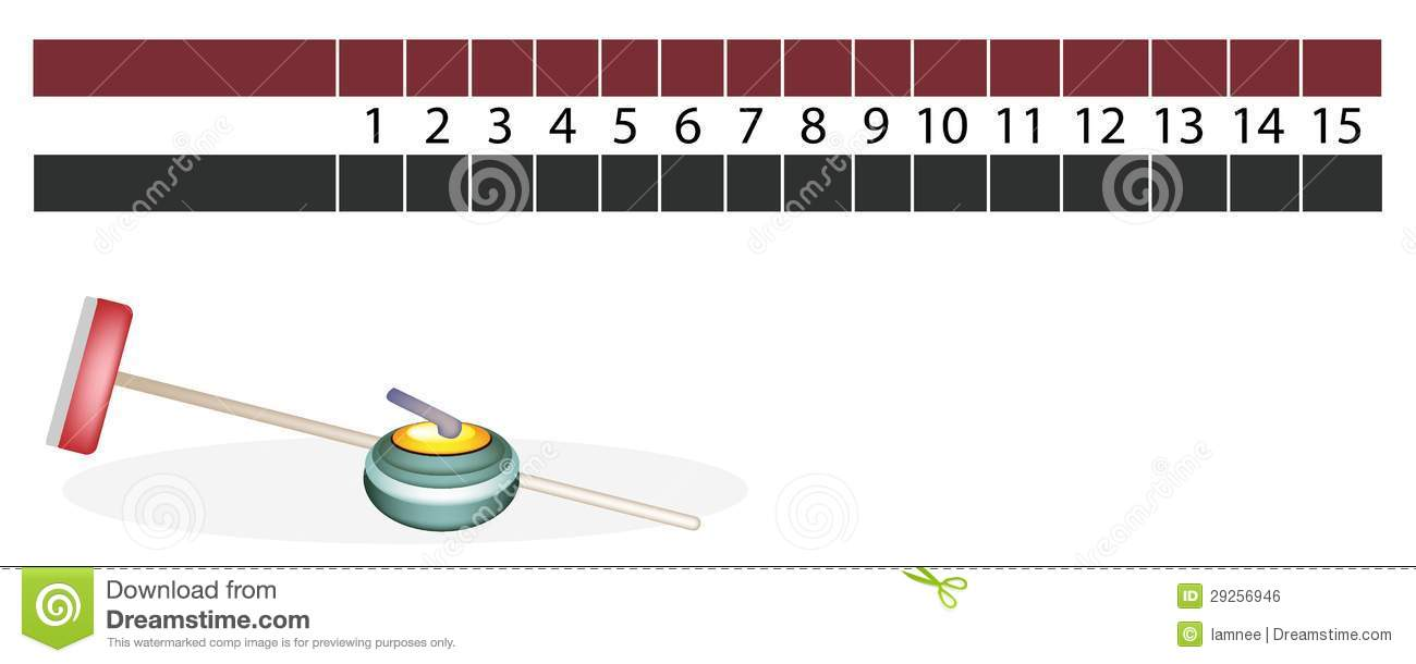 A Curling Scoreboard With Stones And Broom Royalty Free