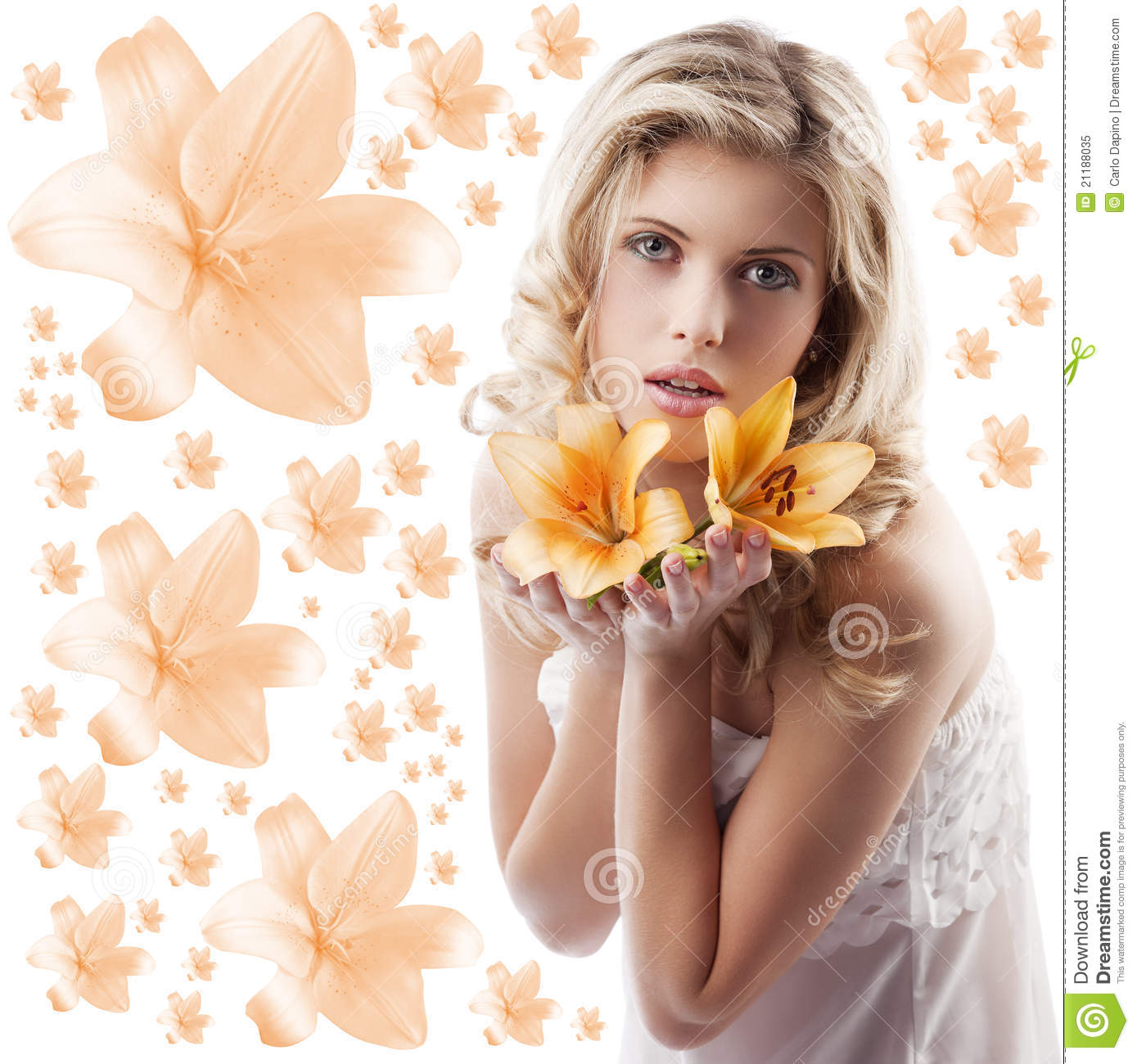 Curly blond girl with orange lily