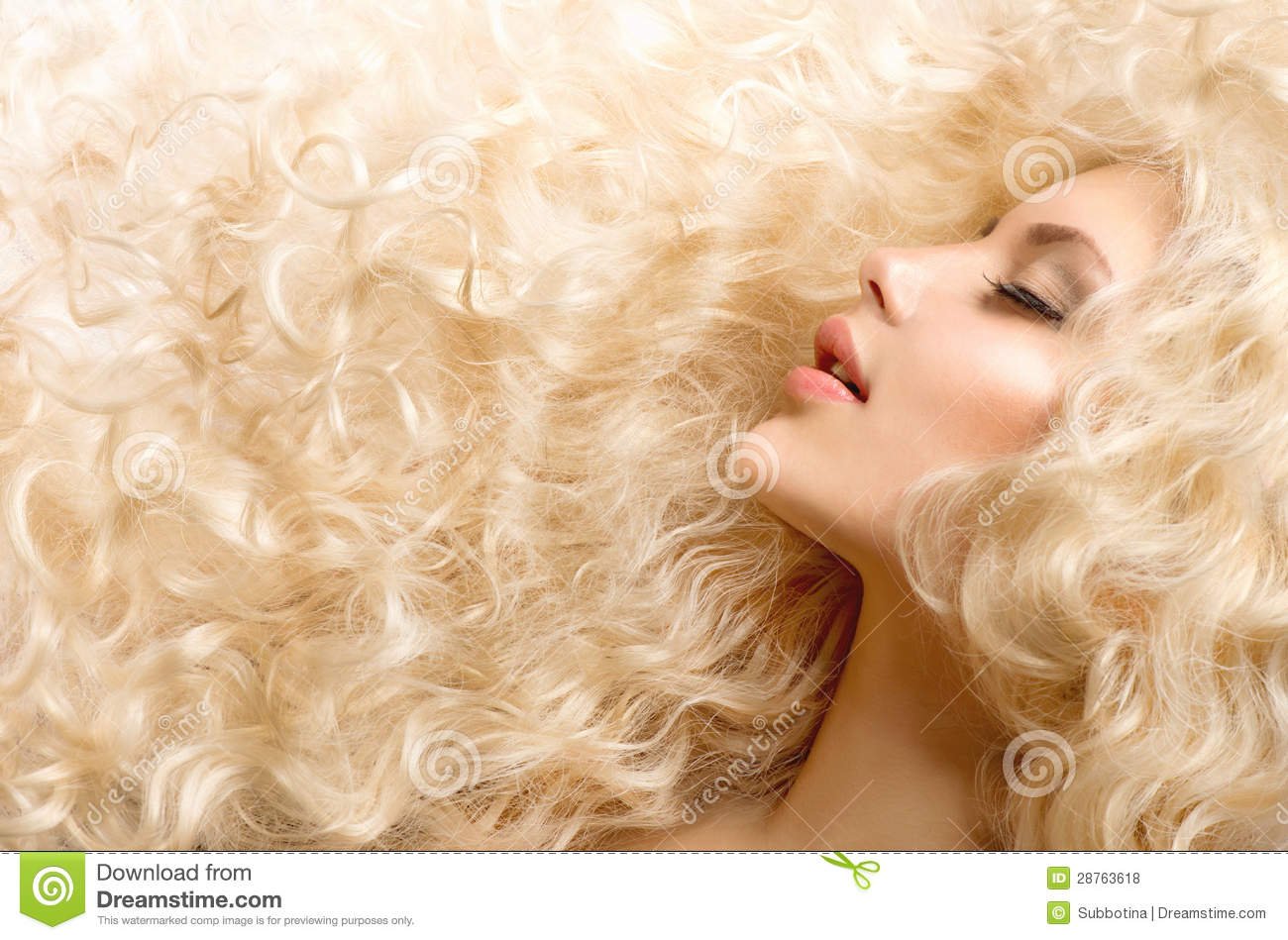 Download Curly Blond Hair stock photo. Image of extensions, girl - 28763618