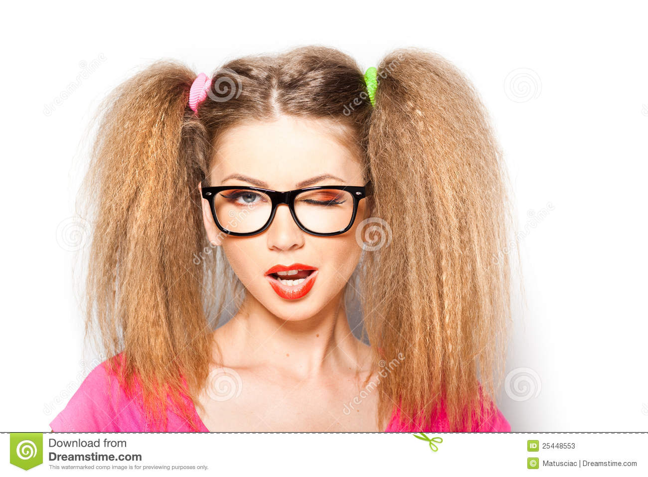 Curly Girl With Hipster Glasses And Two Tails Stock Image ...