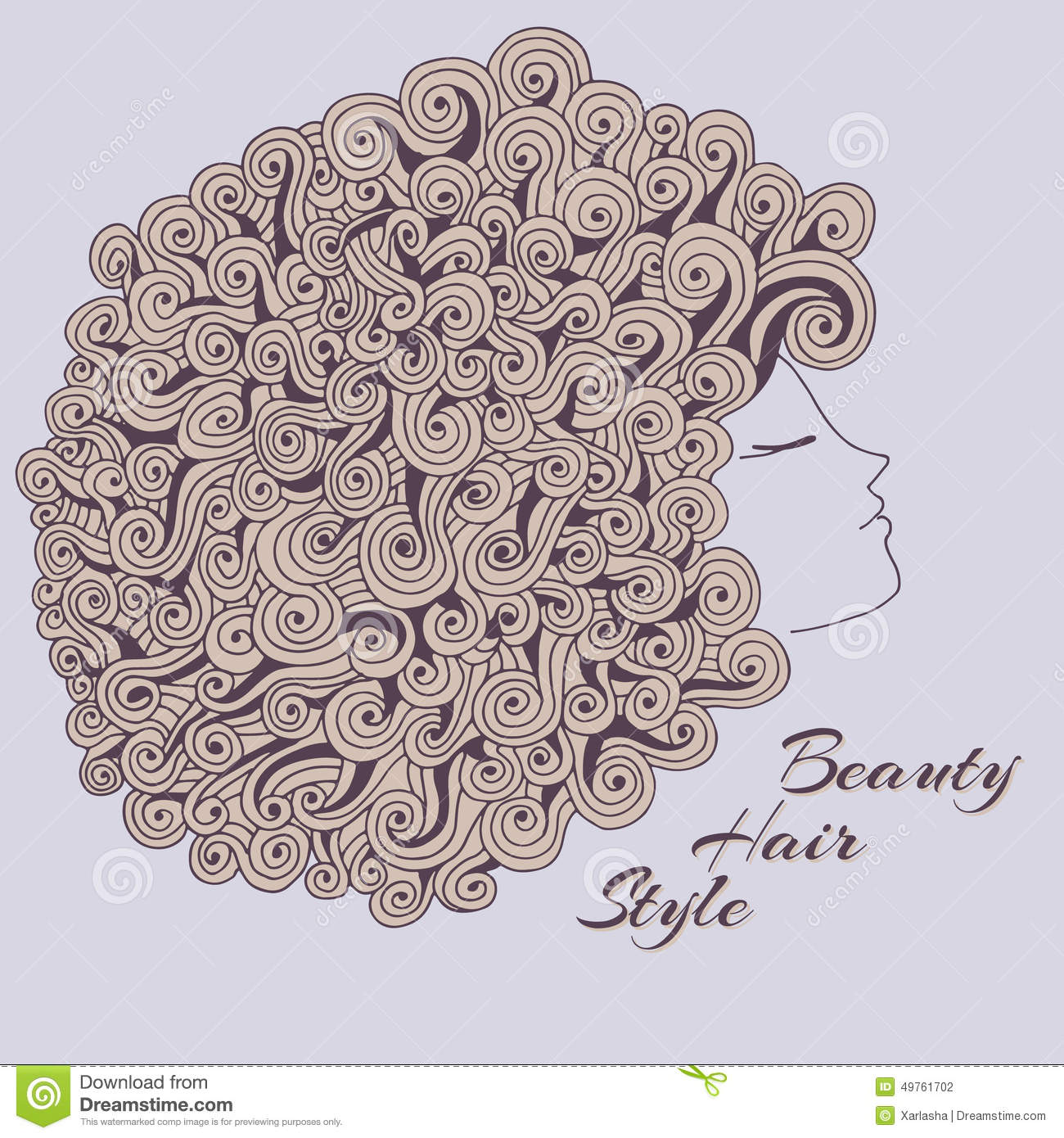 Sensational Curly Girl Stock Vector Image 49761702 Short Hairstyles Gunalazisus