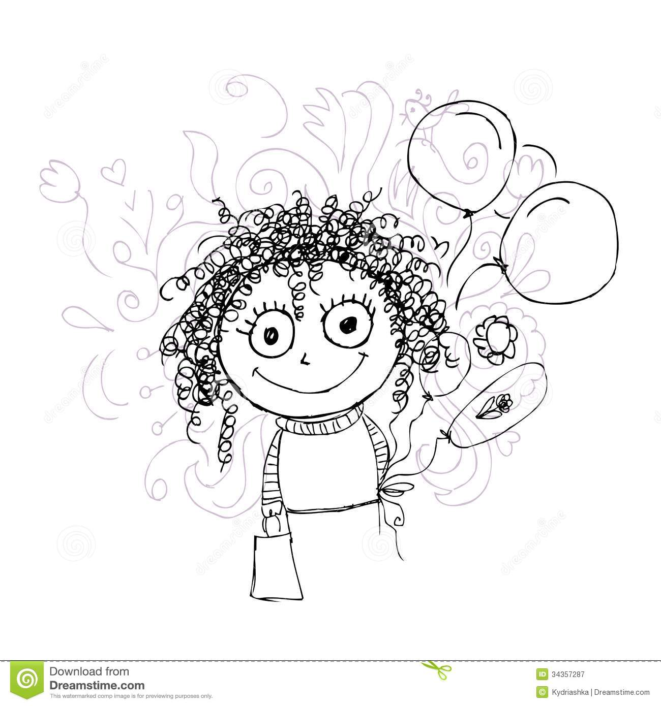 Curly Girl Sketch With Balloons For Your Design Royalty Free Stock Photography Image 34357287