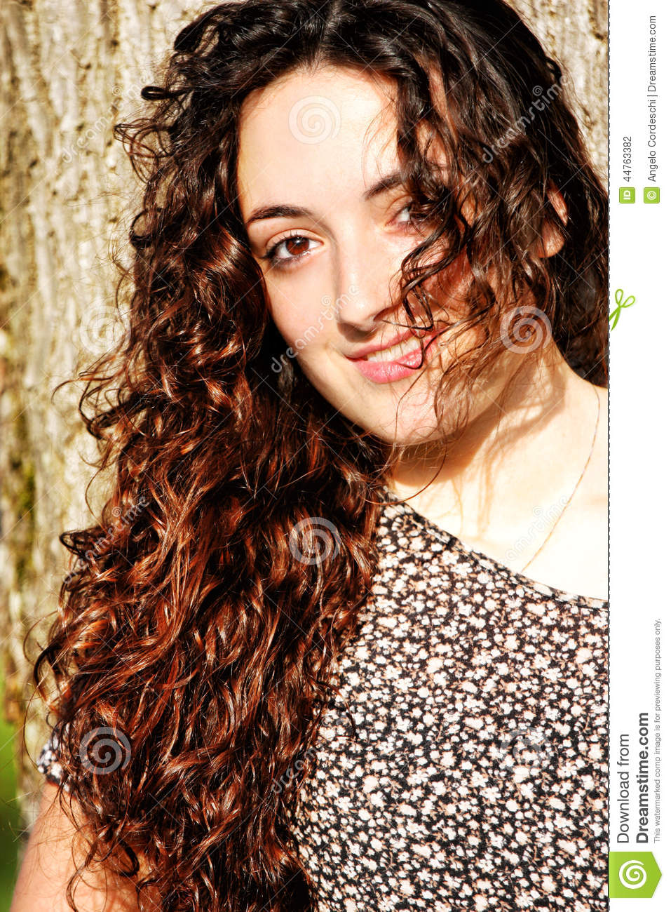Curly Girl Smiling Stock Photo Image Of Adorable Angel 44763382