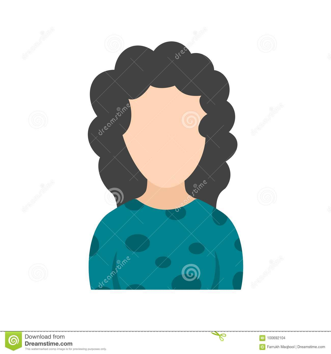 Girl With Curly Hair Stock Vector Illustration Of Beautiful 100692104