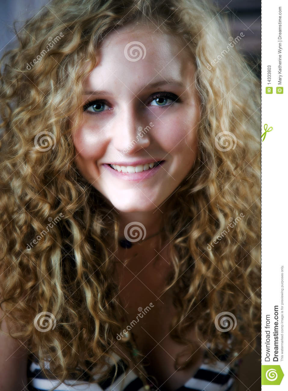 Teen with curly hair