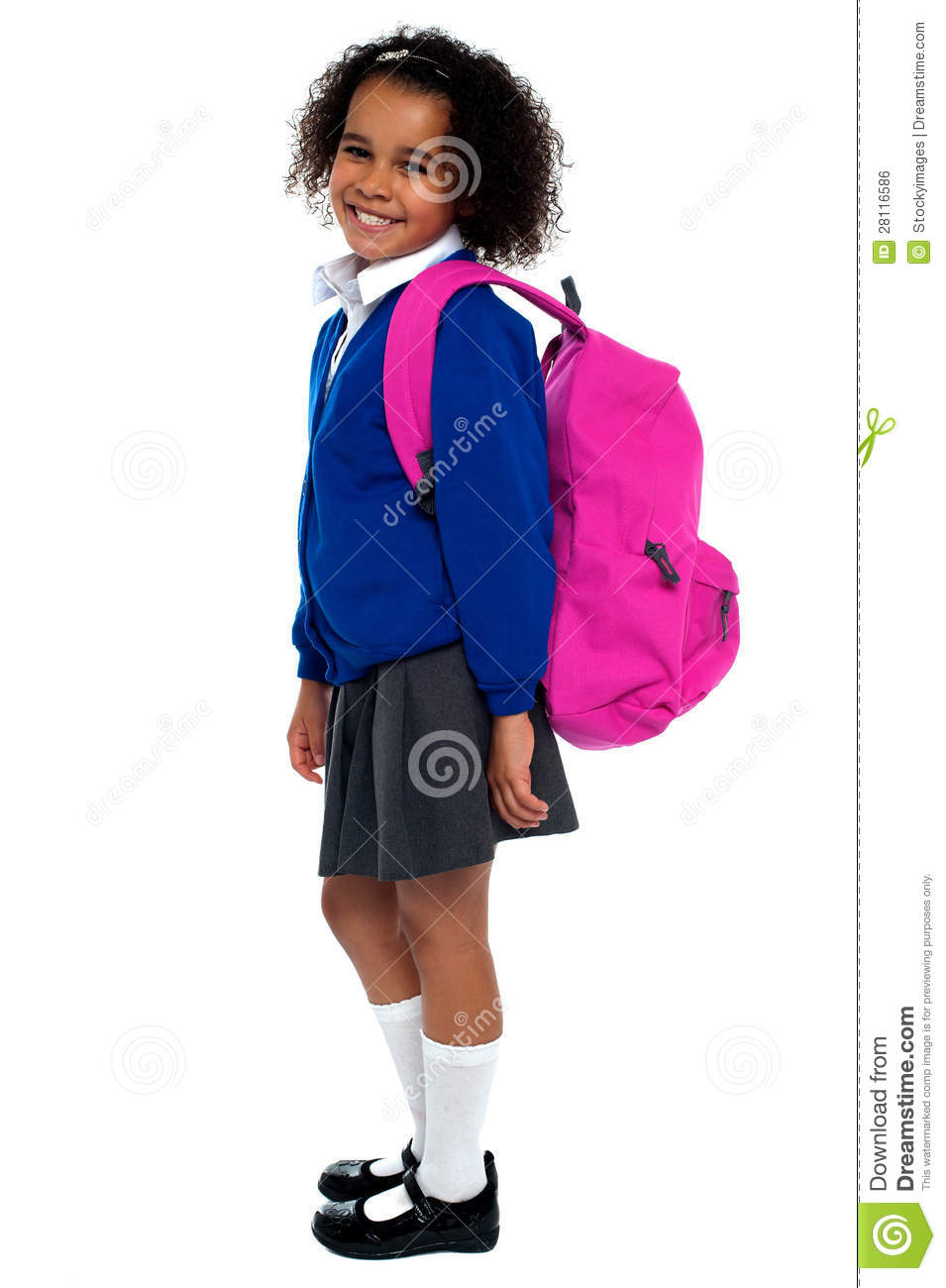 Curly Haired Elementary School Girl Royalty Free Stock