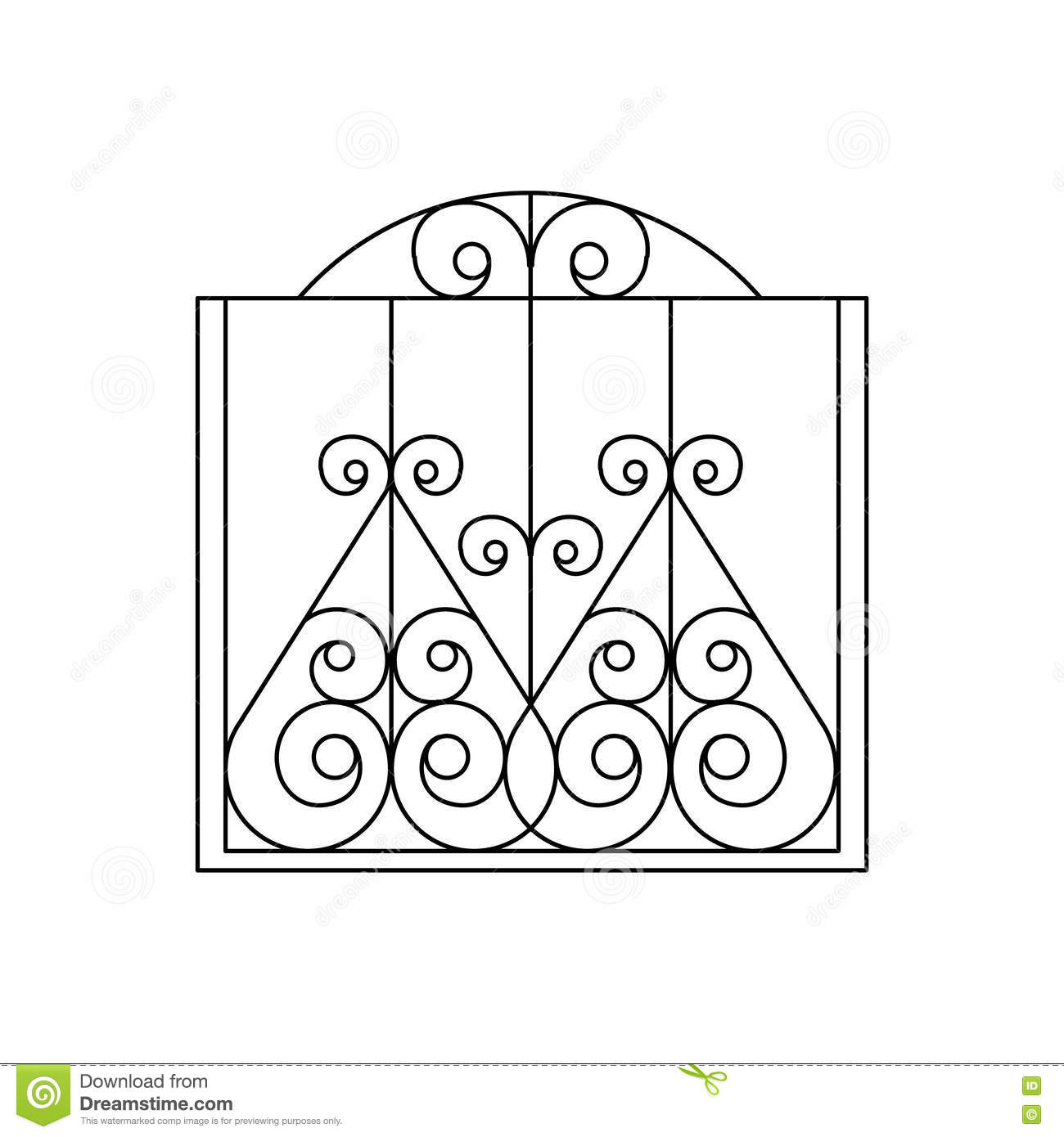 Curly Metal Lattice Fencing Design Stock Vector - Illustration of ...