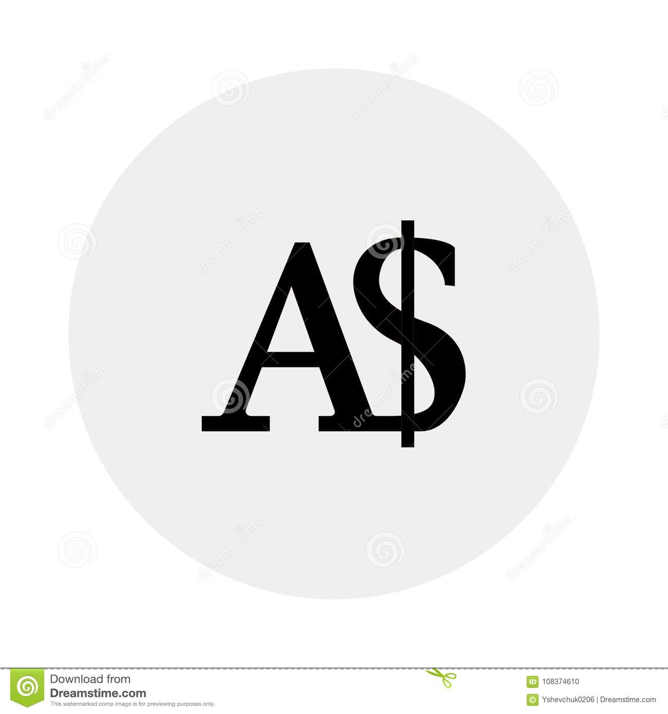 Currency Of Australia White Background Vector Illustration Stock