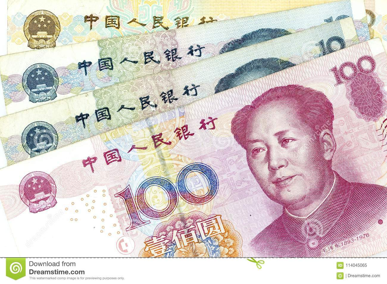 Currency banknotes spread across frame china renminbi in various denomination