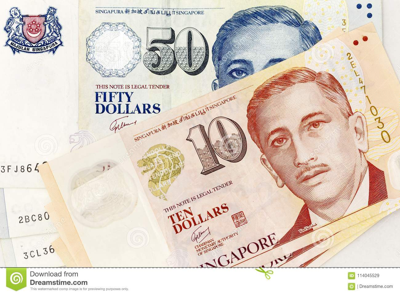 Currency Banknotes Spread Across Frame Singapore Dollar In