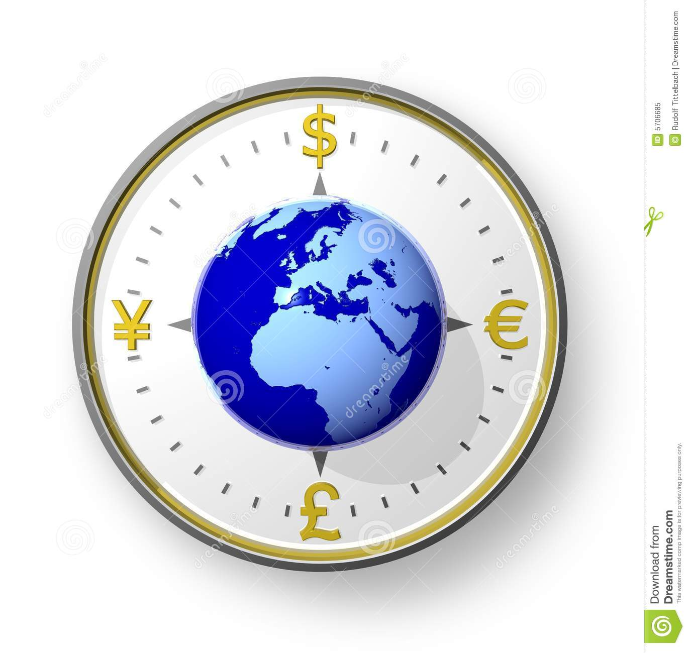 Currency Compass With Globe Royalty Free Stock Photo