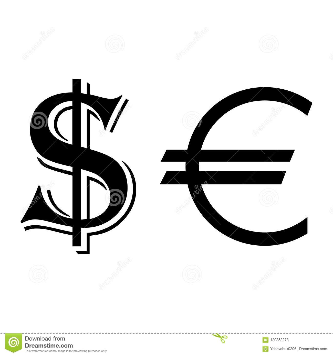 Currency Dollar And Euro Symbols Vector Illustration Stock Vector